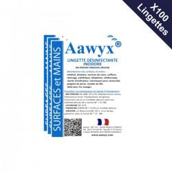 Boîte de 100 lingettes individuelles inodores désinfectantes (0,39€ TTC l'unité)