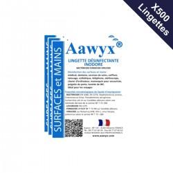 5 boîtes de 100 lingettes individuelles inodores désinfectantes (0,31€ TTC l'unité)