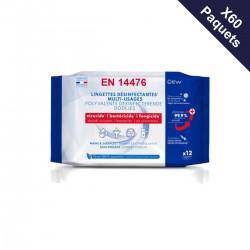 60 paquets de 12 lingettes désinfectantes (3,40€TTC le paquet)