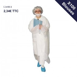 Carton de 100 blouses jetables 35 microns (4,00€ TTC l'unité)