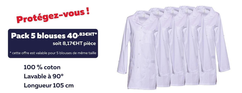 Offre blouses blanches lavables à 90°